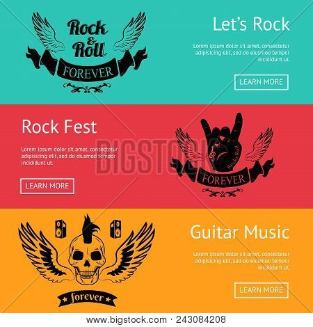 Rock-themed Set Of Posters With Colorful Backgrounds. Vector Illustration Of Pair Of Wings, Sign Of