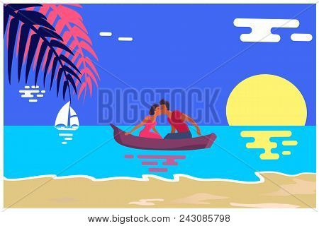 Summer love affair banner with kissing couple sailing together in one boat, relationships of strangers during vacation at summertime at seaside with palms poster