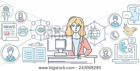 Public Relations - Line Design Style Illustration On White Background. Colorful Composition With A F