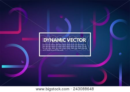Geometric Dark Abstract Gradient Vector Background. Lines And Shapes With Gradients. Violet And Purp