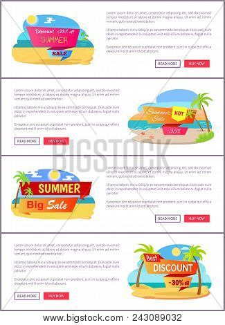 Big Summer Sale Up To 30 Internet Promo Pages. Luxurious Tropical Beaches With Tall Palms Vector Ill