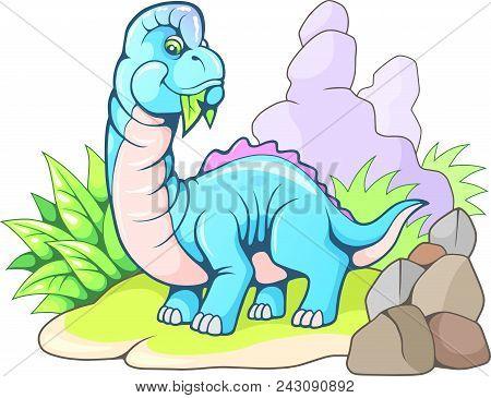 Cartoon Cute Prehistoric Brachiosaurus, Funny Dinosaur Illustration