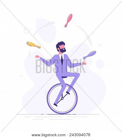 Handsome Business Man Is Riding On Unicycle And Juggling Different Tasks. Multitasking Concept. Flat