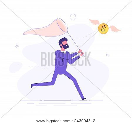 Businessman Is Trying To Catch Flying Dollar Coin With A Scoop-net. Modern Business Character. Vecto