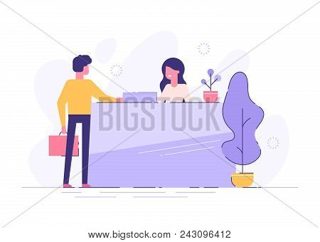 Customer At Reception. Young Woman Receptionist Standing At Reception Desk. Modern Vector Illustrati