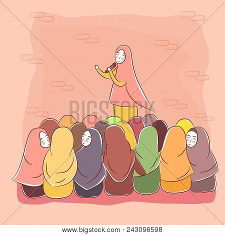 Woman Islam Teaching Crowd Learning Islam Wearing Veil Presentation Drawing Vector Illustration