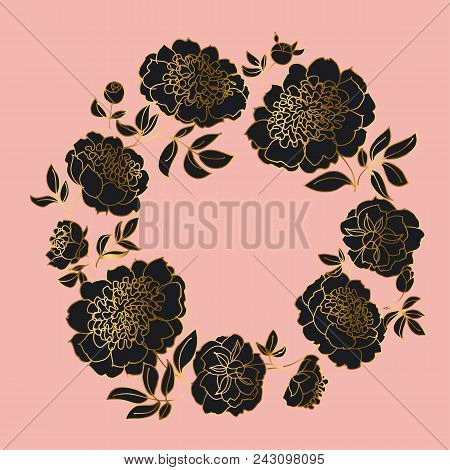 Concept Black And Pale Rose Peony Flower. Luxury Gold Floral Wreath Element For Header, Card, Weddin