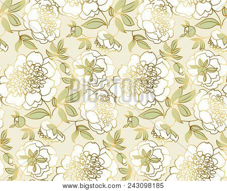 Tender White Peony Flower Seamless Pattern. Luxury Spring Floral Endless Repeatable Motif For Wallpa
