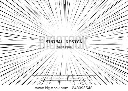 Light Rays. Comic Book Black And White Radial Speed Lines Background. Rectangle Fight Stamp For Card