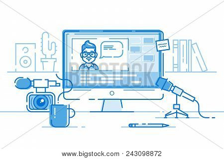 Workplace Of Blogger Or Video Editor With Monitor And Interface Of Application For Video Editing Pro