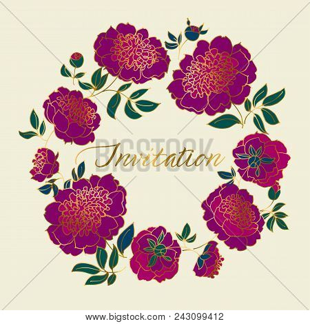 Classic Purple Peony Sketch With Gold Outline. Hand Drawn Floral Wreath Element For Header, Card, In