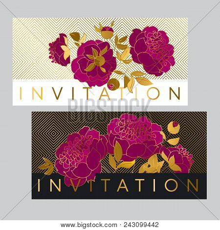 Classic Purple Peony Sketch With Gold Outline. Hand Drawn Floral Element For Header, Card, Invitatio
