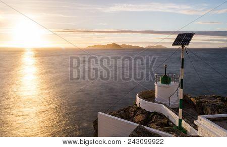Sunset At Monteferro Lighthose, Beautiful View To Cies Island