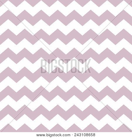 Tile Vector Pattern With Violet Zig Zag On White Background
