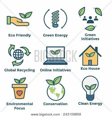 Environmental Icons With Green Energy, Eco House, & Earth Initiatives
