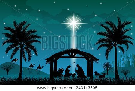 Scene Of The Nativity Of Jesus Christ. Christmas, The Scene Of Christmas. Christmas Night.