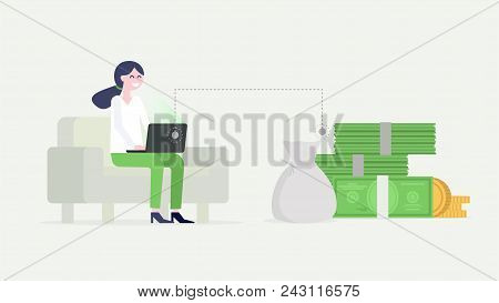 Happy Girl Earning Money Online At Home Sitting On The Couch. Working At Home Online Concept. Vector