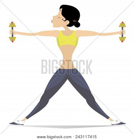 Pretty Young Woman Does Exercises With Dumbbells Isolated. Well-developed Figure Young Woman Does Ex