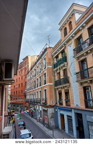 Madrid, Spain - April 23, 2018: Generic Picturesque Buildings On A Street In