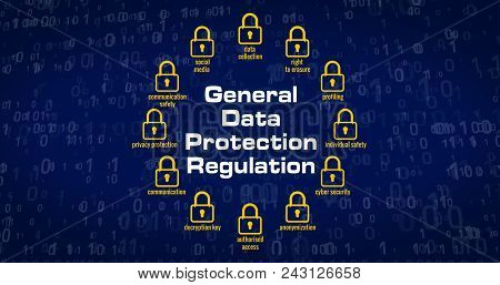 Gdpr - General Data Protection Regulation, Padlocks, Paragraph Symbol And Cyber Security Keywords On