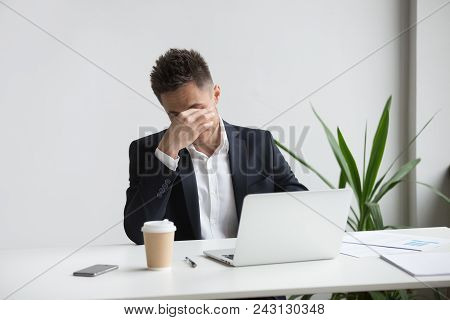Frustrated Stressed Businessman Feeling Tired Of Computer Work Sitting At Workplace, Exhausted Man I