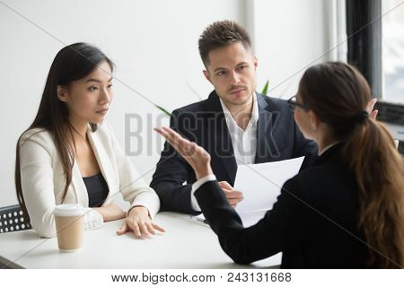 Skeptical Unconvinced Diverse Hr Managers Interviewing Female Applicant Feeling Distrustful Doubtful