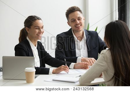 Friendly Business Team Members Chatting Laughing Together During Office Break, Happy Coworkers Talki
