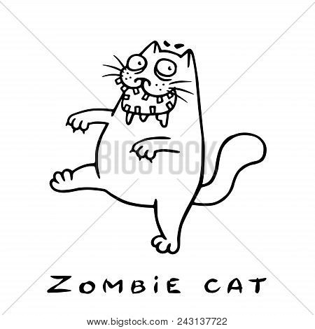 Cartoon Zombie Cat Comes With An Open Mouth. Genre Of Horror. Vector Illustration.