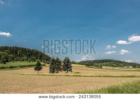 German Countryside With Forests, Fields And Meadows