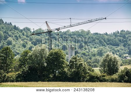 Big Crane In The Middle Of The German Countryside