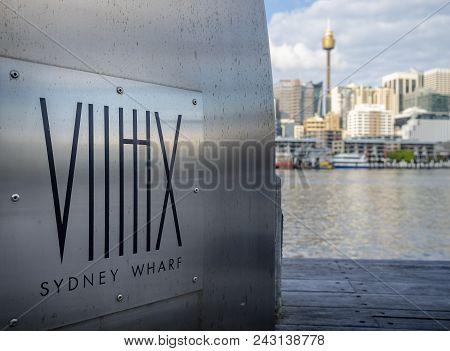 Sydney, Australia - May 22, 2017: Closeup Of Signage On Pier Designating Sydney Wharf On Pyrmont Bay