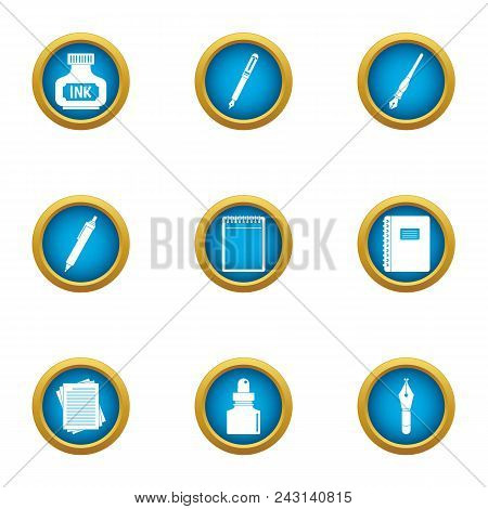 Writing Ink Icons Set. Flat Set Of 9 Writing Ink Vector Icons For Web Isolated On White Background