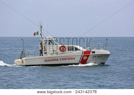 Amalfi Coast, Italy - June 28, 2014: Coast Guard Boat Patrolling At Tyrrhenian Sea In Amalfi Coast,