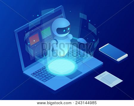 Isometric Robot Learning Or Solving Problems Concept. Artificial Intelligence Business Vector Illust