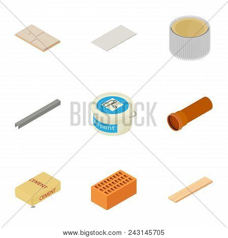 Construction Material Icons Set. Cartoon Set Of 9 Construction Material Vector Icons For Web Isolate