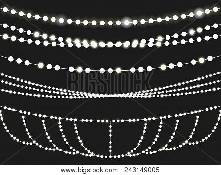 Vector Set Of Overlapping, Glowing Light Garlands Isolated On A Black Background. Christmas String L