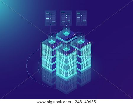 Isometric Server Room And Big Data Processing Concept, Datacenter And Data Base Icon, Digital Inform