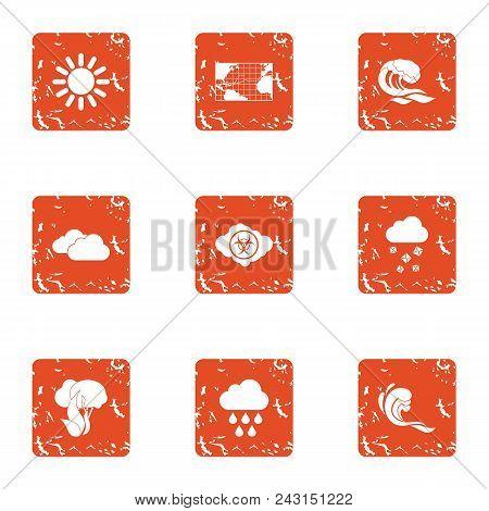 Global Climate Warming Icons Set. Grunge Set Of 9 Global Climate Warming Vector Icons For Web Isolat