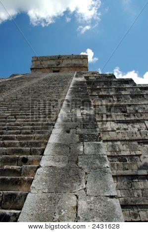 Abstract View Of Steps Of Ancient Mayan Pyramid