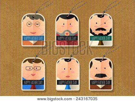 Happy Father's Day Vector Tag Simple Character Collection