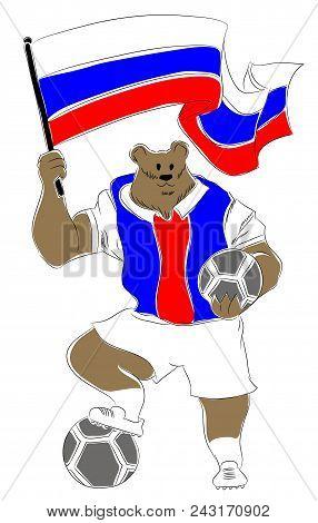 World Cup Mascot Russian.  Russian Bear Soccer Mascot. Football Tournament 2018. Logo For The Summer