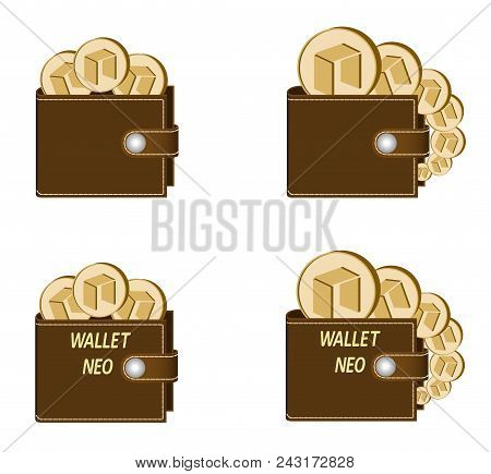 Set Of Brown Wallets With Neo Coins On A White Background , Crypto Currency In The Wallet,sign  Cryp