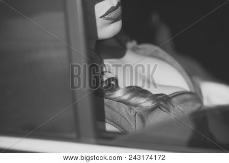 Face Girl For Magazine Cover. Girl Face Portrait In Your Advertisnent. Closeup Portrait Of Sexual Go