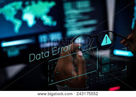 Woman working with global networks and data protection