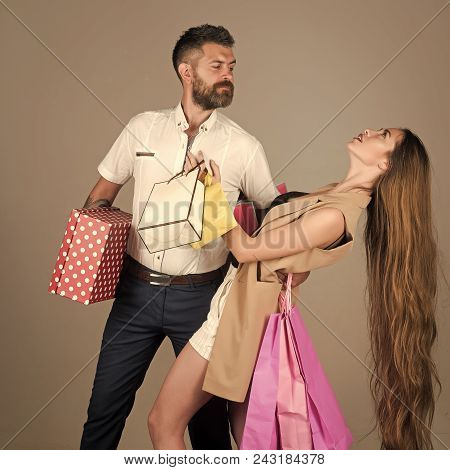 Passionate Couple Kissing, Boy And Girl. Shopping And Sale, Happy Couple In Love Of Woman With Long