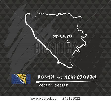 Bosnia And Herzegovina Map, Vector Drawing On Blackboard