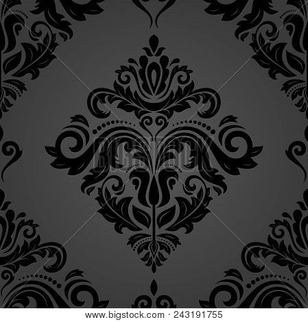 Classic Seamless Vector Pattern. Damask Dark Orient Ornament. Classic Vintage Background. Orient Orn