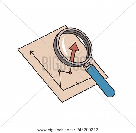 Magnifier And Graph. Analytics Symbol. Chart Analysis Icon. Colored Line Vector Illustration. Isolat