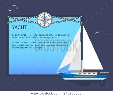 Sail Yacht, Colorful Card, Vector Illustration, Place For Text Sample, Intersecting Cordages, Abstra