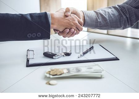 Handshake Of Cooperation Customer And Salesman After Agreement, Successful Car Loan Contract Buying
